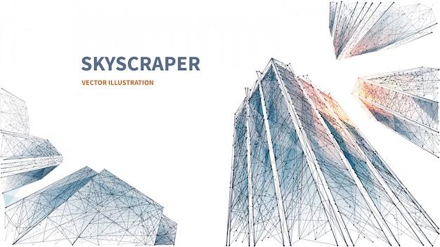 고층 빌딩의 추상 디지털 낮은 각도보기입니다. 다각형 선, 입자 및 연결된 점. 흰색 배경에 고립 된 사업 건물입니다. 성공과 비즈니스의 3d 기술 개념입니다. 다각형 프리미엄 벡터