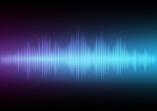 Abstract digital sound wave and music beats background. Premium Vector
