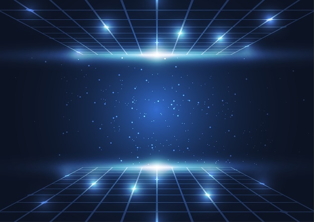 Abstract digital technology blue dots and lines background Premium Vector