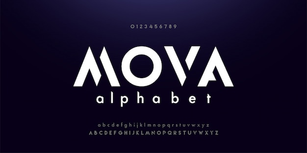 抽象的なデジタル技術現代アルファベットフォント Premiumベクター