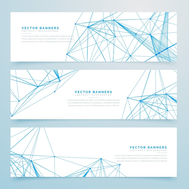 Abstract digital wire mesh headers Free Vector