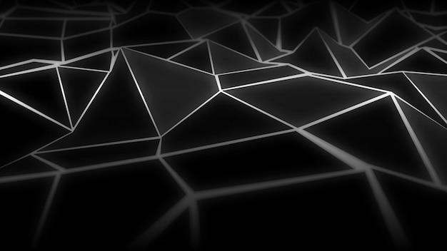 Abstract digital wireframe landscape background Premium Vector