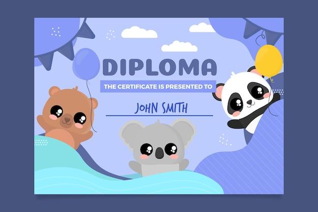 Modello di diploma astratto per bambini Vettore gratuito