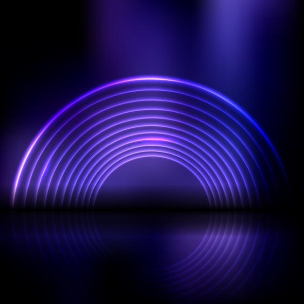 Абстрактный фон дисплея с неоновым дизайном туннеля Бесплатные векторы