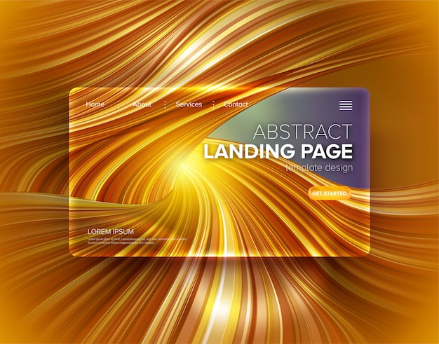 Abstract distorted stripe landing page template Premium Vector