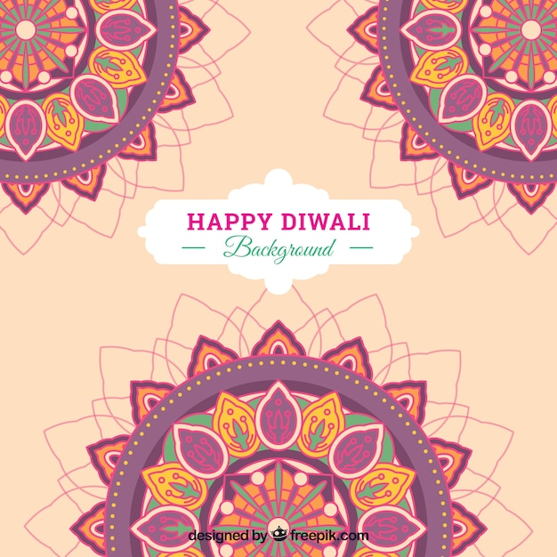 Abstract diwali background with mandalas