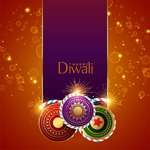 Abstract diwali festival sparkles background with crackers Free Vector
