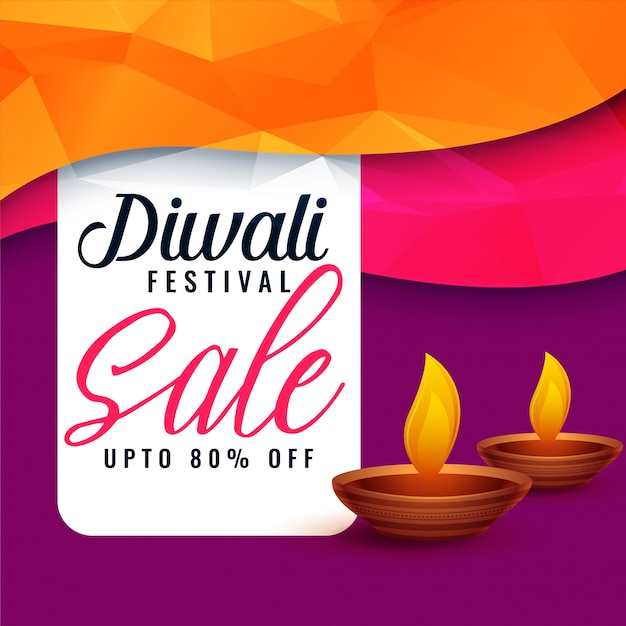 Abstract diwali sale discount banner with two diya Free Vector