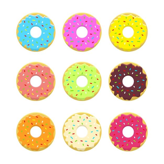 スタイルと明るい色で抽象的なドーナツイラストレーションセット。艶をかけられ、粉にされたドーナツ。 。 無料ベクター