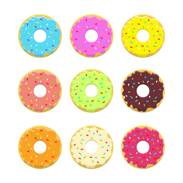 Abstract  donuts llustration set in  style and bright colors. glazed and powdered doughnuts. . Free Vector