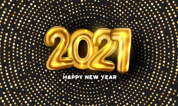 2021 황금 풍선 번호와 추상 점 배경 3d 무료 벡터