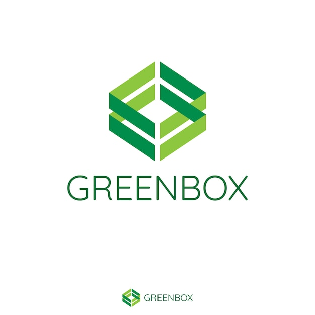 Abstract double green arrow make box shape. logo template with flat style for healthy, vegan, medical product or services brand. Premium Vector