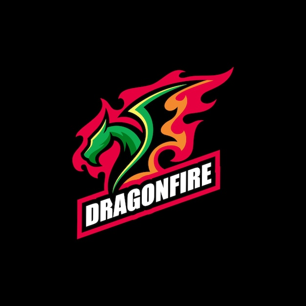 Abstract dragon fire illustration vector design template Premium Vector