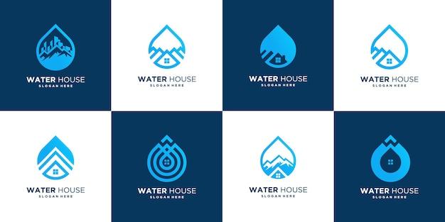 Abstract drop house logo design template, water home vector icon Premium Vector