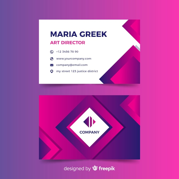 Abstract duotone gradient business card Free Vector