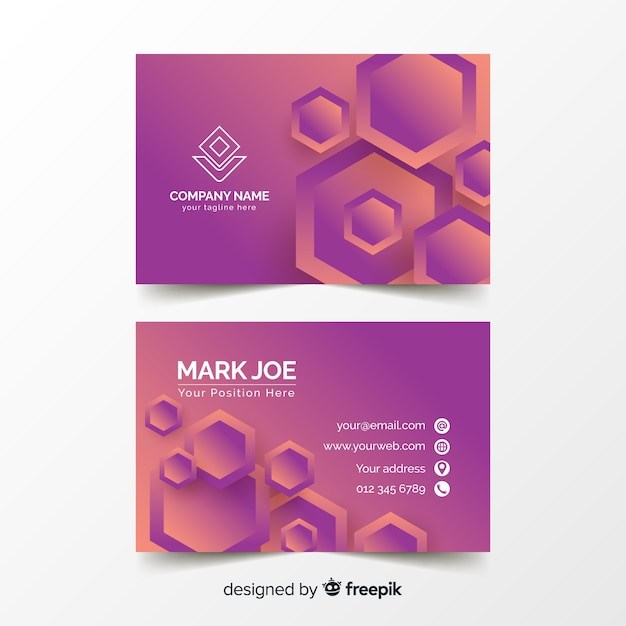 Abstract duotone gradient geometricshapes business card template Free Vector
