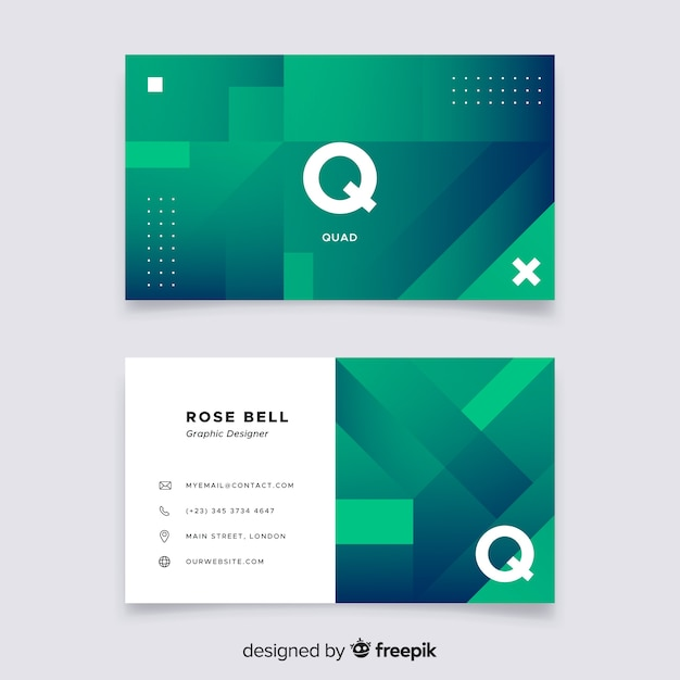 Abstract duotone gradient shapes business card template Free Vector