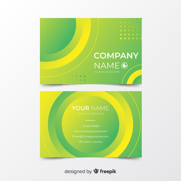 Abstract duotone gradient shapes business card Free Vector