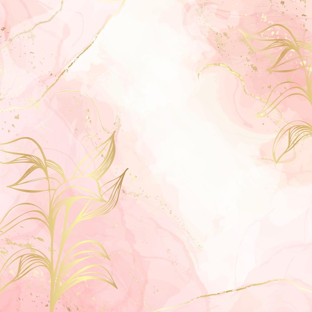 Abstract dusty blush liquid watercolor background with gold floral decoration elements