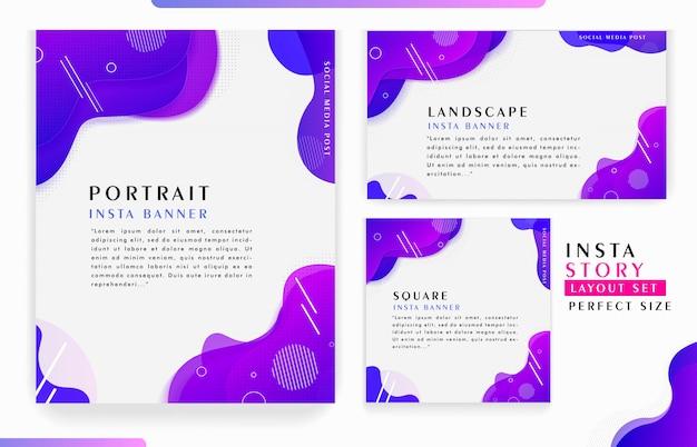 Abstract dynamic minimalist instagram stories template design Premium Vector