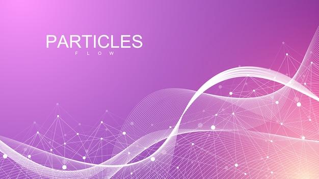 カラフルな粒子で抽象的なダイナミックなモーションラインとドットの背景。 Premiumベクター