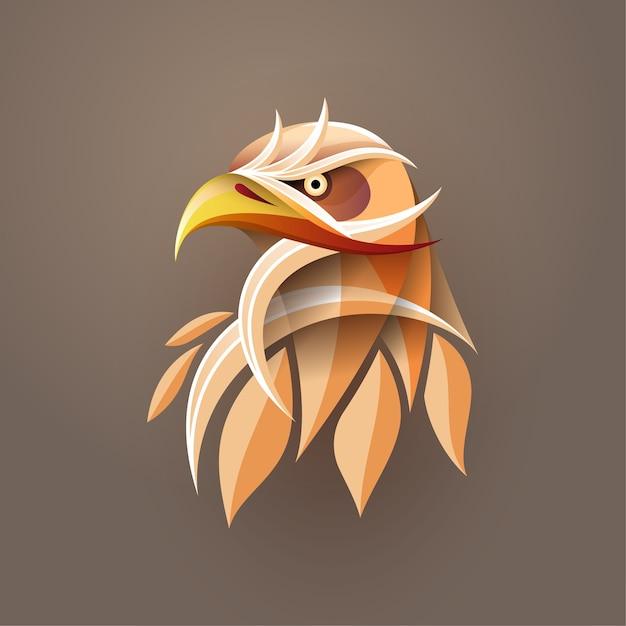 Абстрактное искусство градиента головы орла для печати плакатов, футболок, открыток Premium векторы