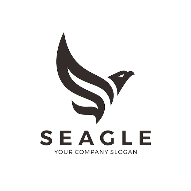 Abstract eagle logo with letter s Premium Vector