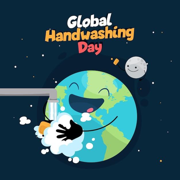 Terra astratta che si lava le mani Vettore gratuito