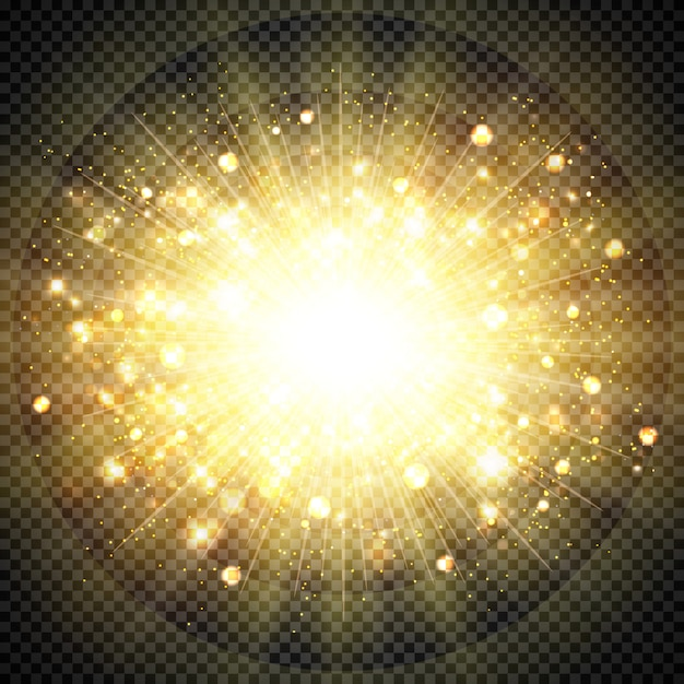 Абстрактный эффект золотого солнечного света для солнца вспыхнул сверкающим элементом. иллюстрация вектор eps10 Premium векторы