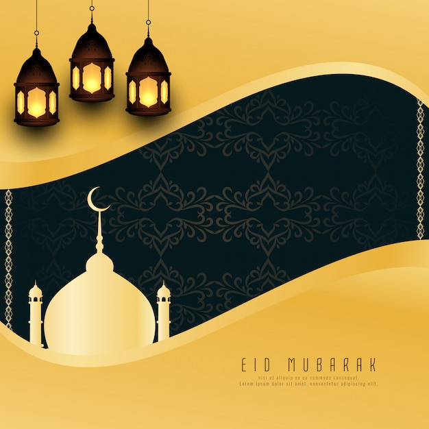 Abstract Eid Mubarak greeting background Free Vector