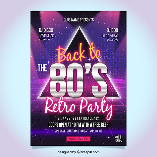 Abstract eighties party flyer Free Vector