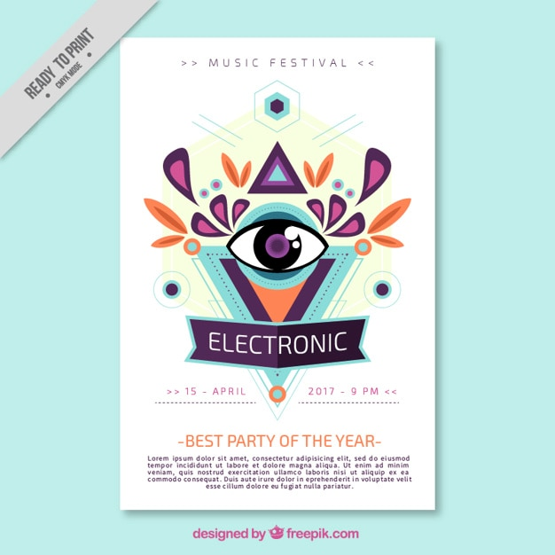 Abstract Electronic Music Brochure Vector  Free Download