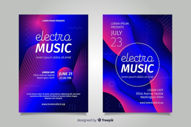 Abstract electronic music poster template Free Vector