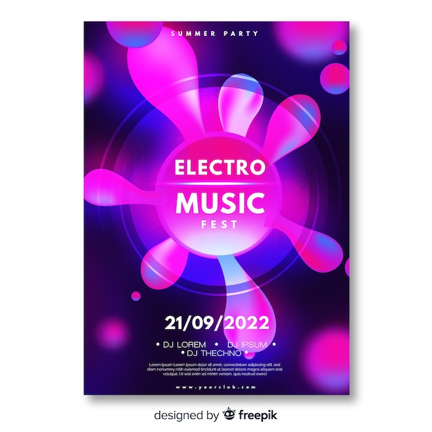 Abstract electronic music poster template Vector | Free Download