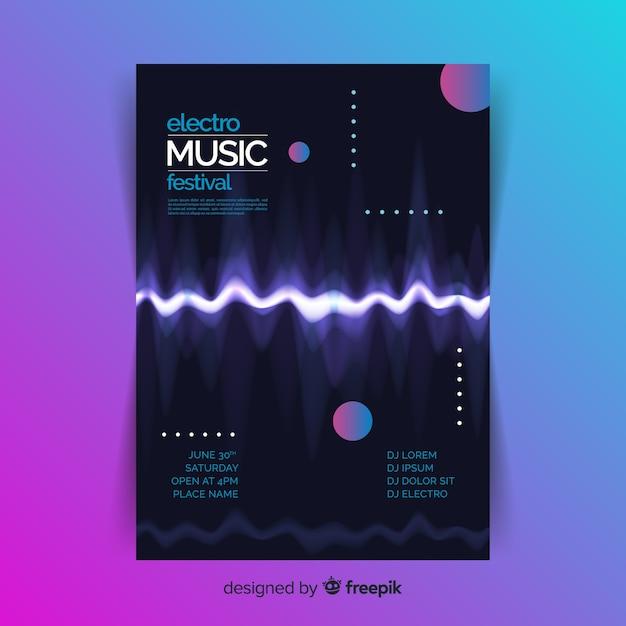 Шаблон плаката абстрактной электронной музыки Premium векторы