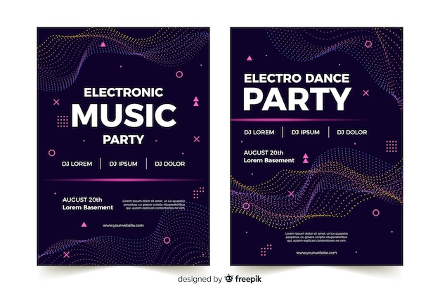 Abstract electronic music poster Free Vector