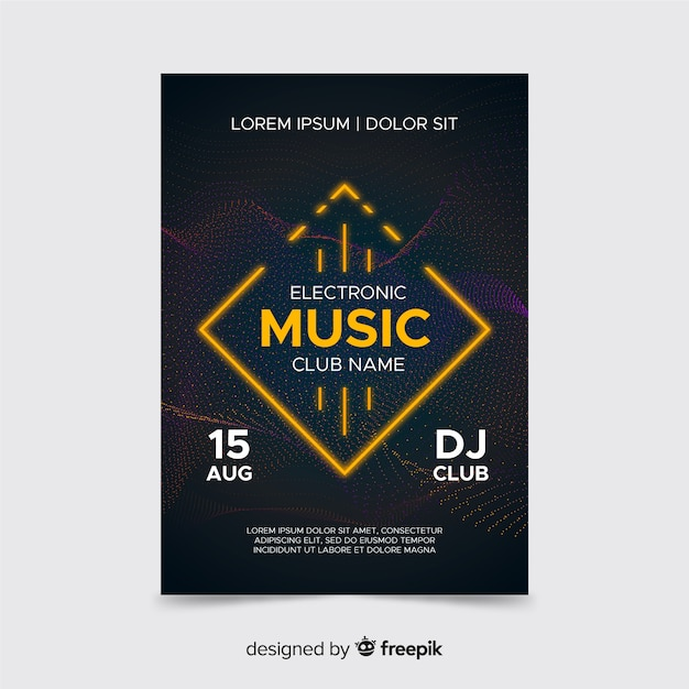 Abstract electronic music with neon light Free Vector