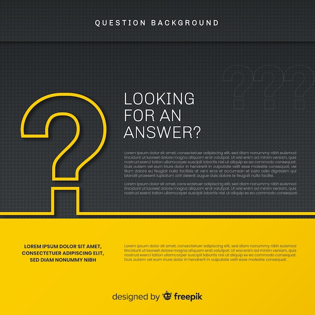 Abstract elegant black and golden question background Free Vector
