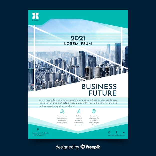 Abstract elegant business flyer with photo template Free Vector