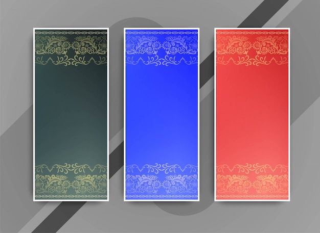 Abstract elegant colorful banners set Free Vector
