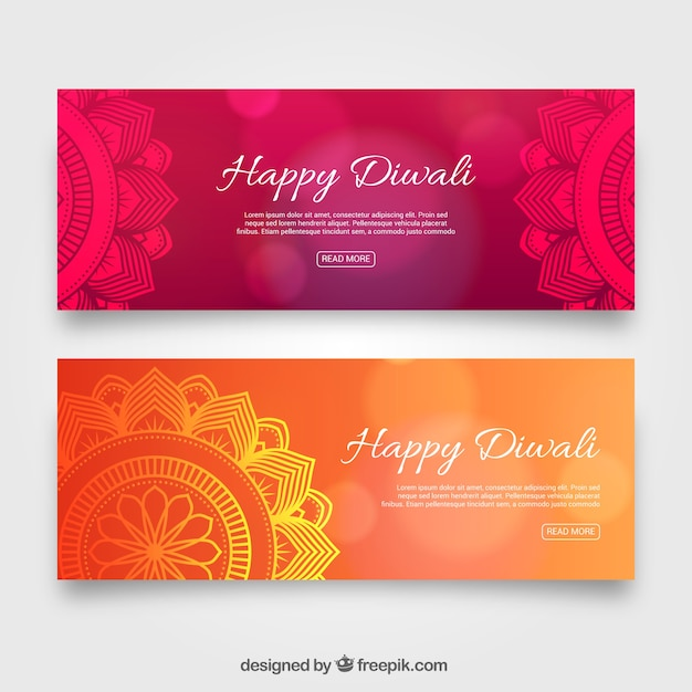 Abstract elegant diwali banners Free Vector