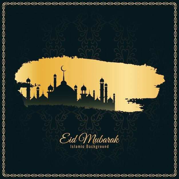 Abstract elegant Eid Mubarak religious background Free Vector