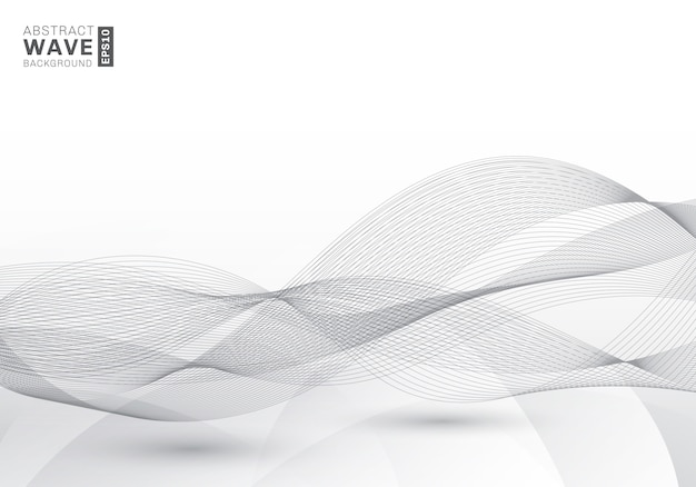 Abstract elegant gray lines waves background Premium Vector