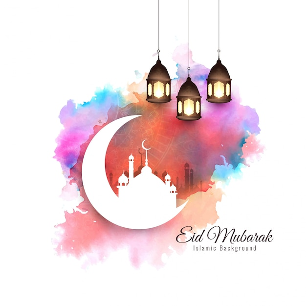 Abstract elegant stylish eid mubarak background Free Vector