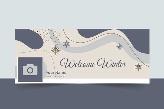 Abstract elegant winter facebook cover Free Vector