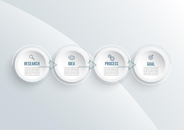Abstract elements of graph infographic template with label, integrated circles. business concept with 4 options. for content, diagram, flowchart, steps, parts, timeline infographics, workflow layout. Premium Vector