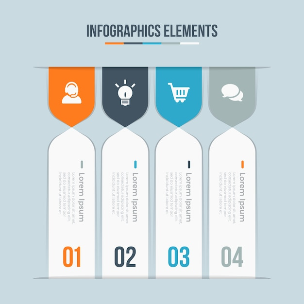 Abstract elements of graph, diagram with steps, options, parts or processes Premium Vector