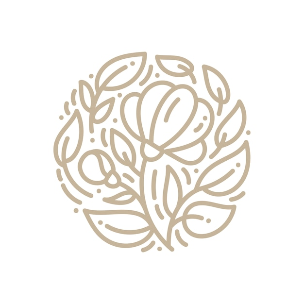 Abstract emblem logo flower in a circle in linear style. Premium Vector