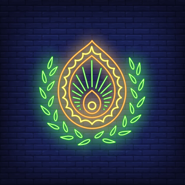 Abstract emblem neon sign. decor, logo. Free Vector