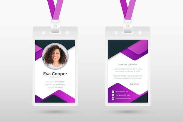 Abstract employee card template with photo Free Vector